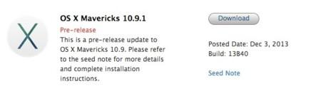 Nueva beta de OS X 10.9.1, y van tres