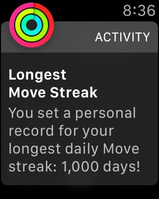 Un usuario de Apple Watch consigue una racha de 1.000 días de movimiento