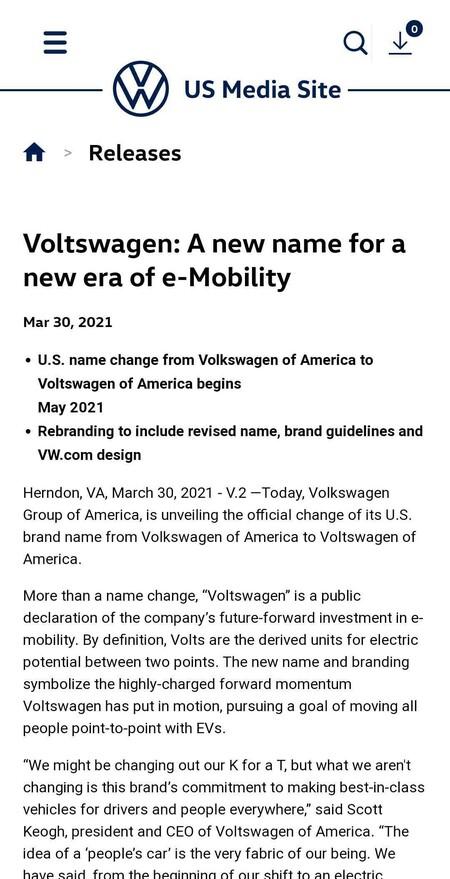 Comunicado Oficial Volkswagen Us