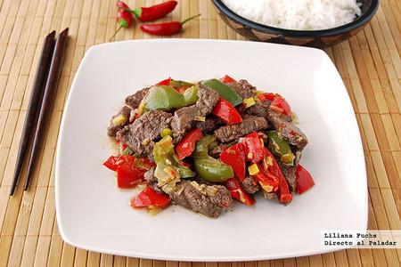 Salteado de ternera picante al comino: receta de inspiración china