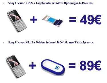 Movistar ofrece un Sony Ericsson k610i y un dispositivo de datos