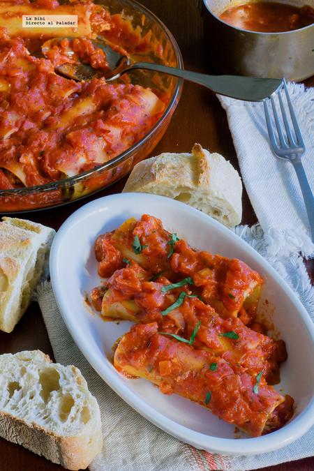 canelones de pollo y tomate