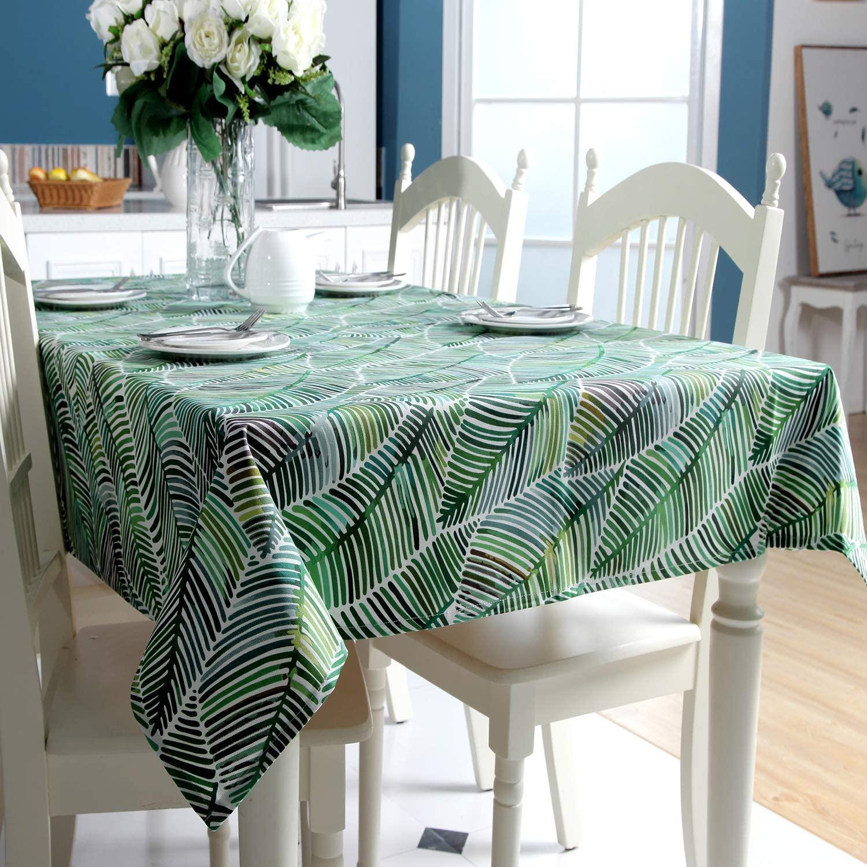 Dreaming Casa - Mantel impermeable para mesa rectangular, antimanchas, diseño geométrico, para mesa de comedor, picnic y fiesta, mantel rectangular, cartón, Feuille de Bananier-vert, 140X180cm
