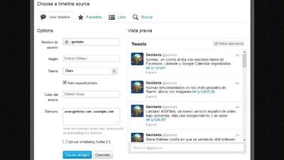 Twitter ofrece nuevos widgets para incrustar timelines, listas o búsquedas en cualquier sitio web