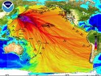 Dispersión del tsunami por el Pacífico