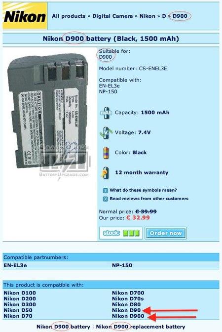 D900 bateria