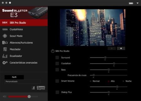 Aplicación para la configuración del Sound Blaster E3