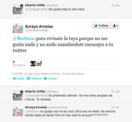 Soraya defiende su nariz en Twitter