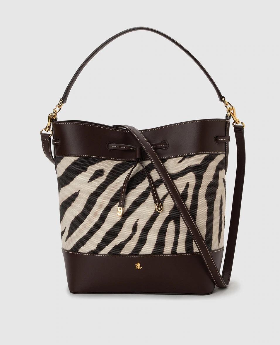 Bolso saco con print de cebra de Ralph Lauren
