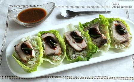 Cogollos rellenos de panceta a baja temperatura y basmati especiado, receta de inspiración oriental