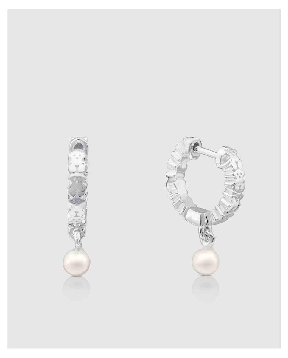 Criollas Tous Straight de plata de primera ley con perla