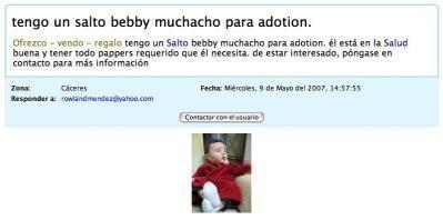 Supuesta venta de un bebé por internet