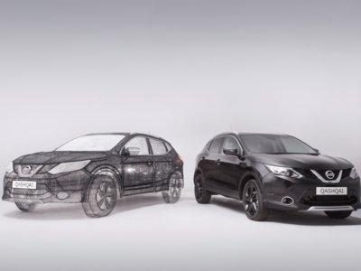 Esta asombrosa escultura de un Nissan Qashqai Black Edition está hecha con bolígrafos 3D