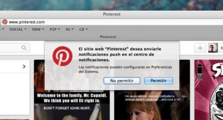 Pinterest se apunta al carro de las notificaciones nativas de OS X Mavericks