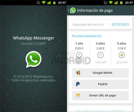 Nuevas modalidades de pago en WhatsApp para Android