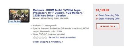 Precio de Motorola Xoom en BestBuy