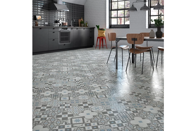 Vinyl tile for kitchen hydraulic effect