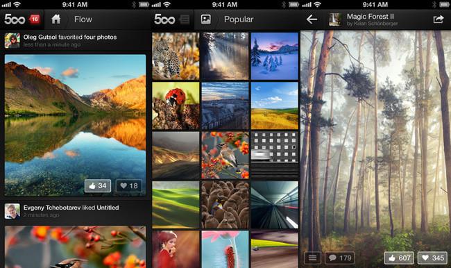Redes sociales de fotografía - 500px