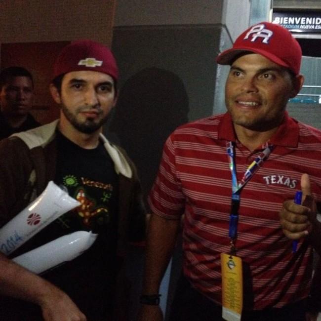 Humberto Gomes Con Ivan Pudge Rodriguez