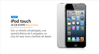 Apple lanza nuevo iPod touch sin cámara trasera