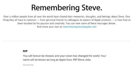 Apple ha recibido un millón de correos homenajeando a Steve Jobs y muestra algunos en una nueva sección de su web