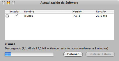 Actualizan iTunes a 7.1.1 corrigiendo los fallos
