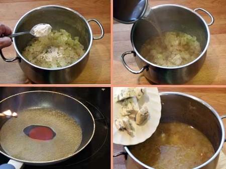 Receta de sopa de cebolla al queso azul-pasos