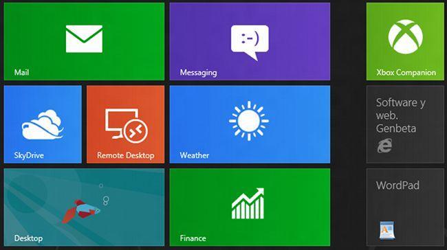 Windows 8, mosaico de aplicaciones