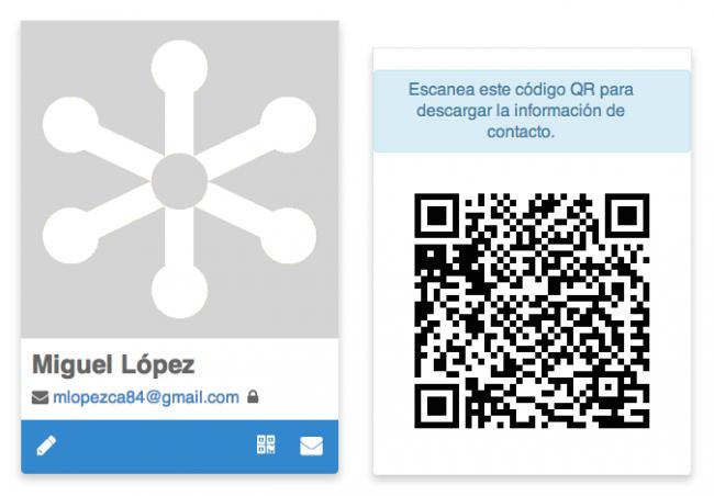 Goropo, comparte tu información de contacto por correo o con un código QR
