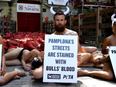 Toros y sangre: la cara de la protesta en contra de los encierros de San Fermín