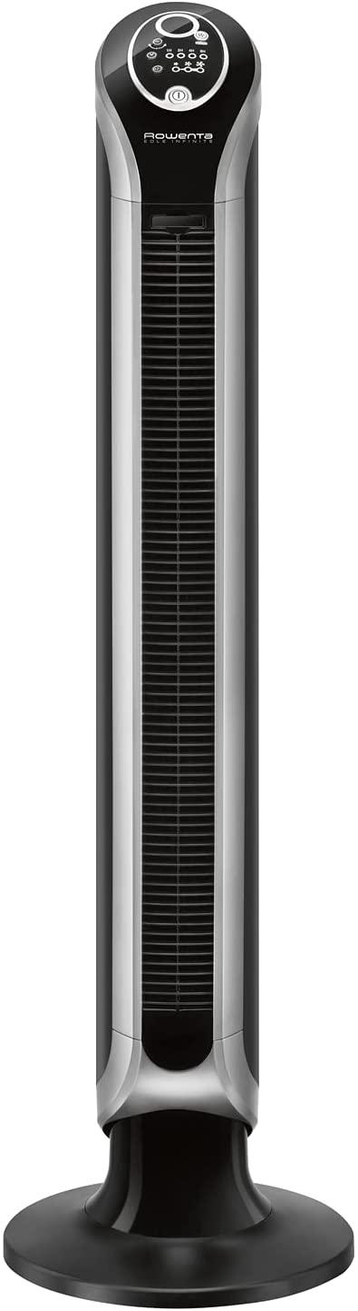 Rowenta Eole Infinite Digital VU6670 Ventilador de torre de pie de 1 m de alto con 3 velocidades, oscilación de 180°, indicador de temperatura LED y temporizador hasta 8 horas