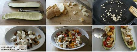 Calabacin relleno de queso de cabra y pesto