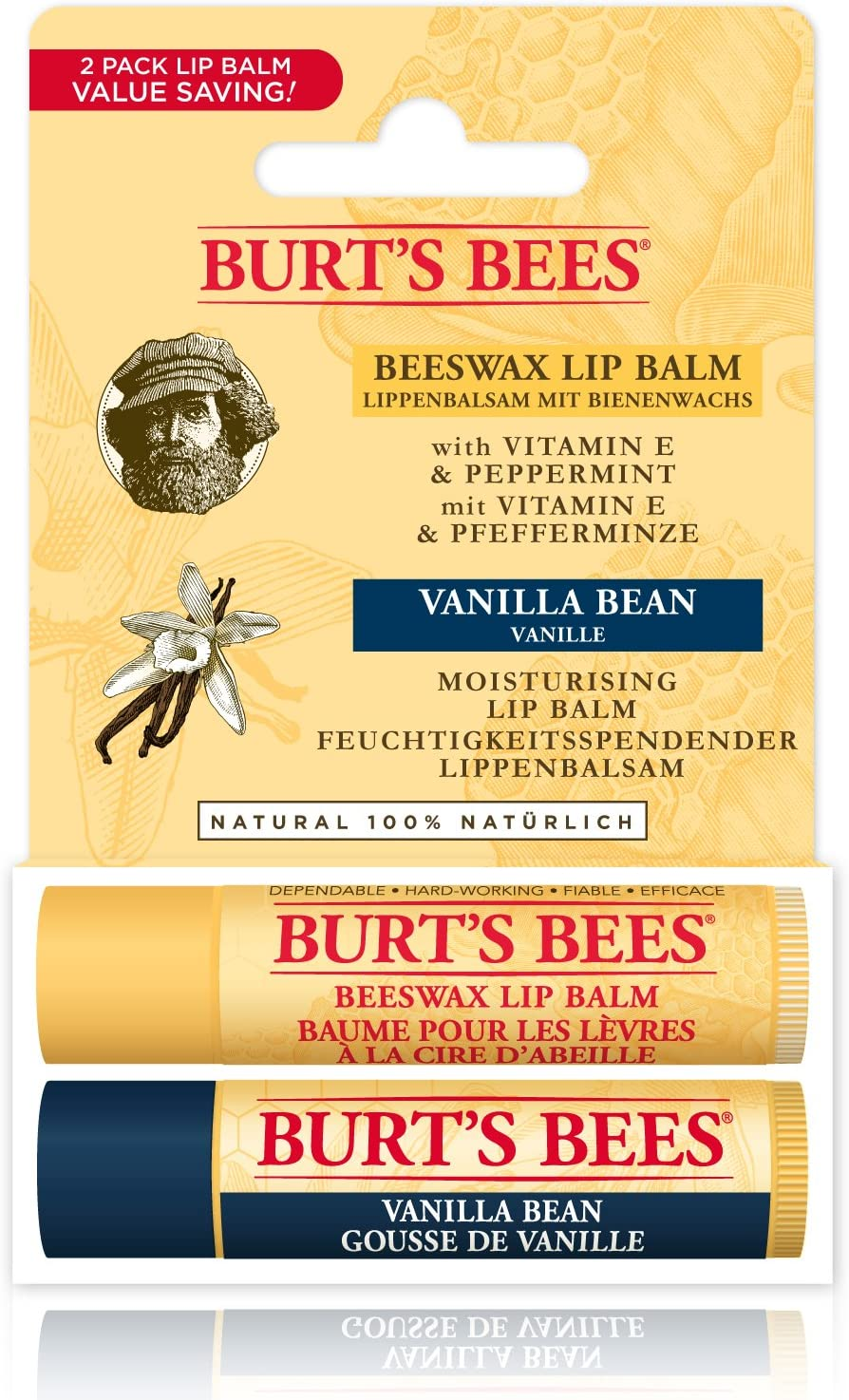 Bálsamo labial hidratante Burt's Bees 100% natural, pack dos por uno, cera de abejas y vainilla, 2 tubos