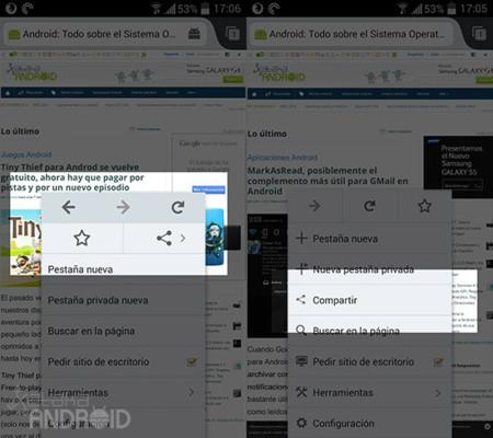 Firefox Beta 29, a la izquierda, frente a la actual versión estable
