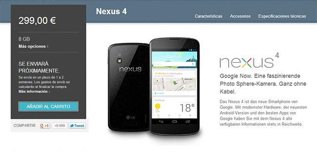 Nexus 4 en Play Store