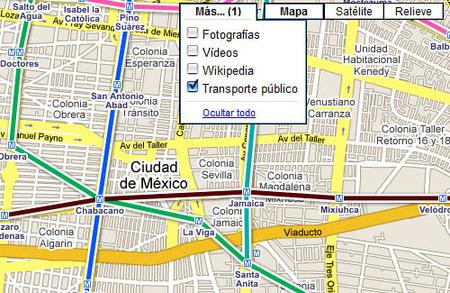 Transporte público en Google Maps