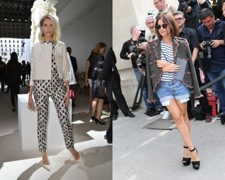 Elena Perminova y Miroslava Duma en la semana de la moda de Madrid