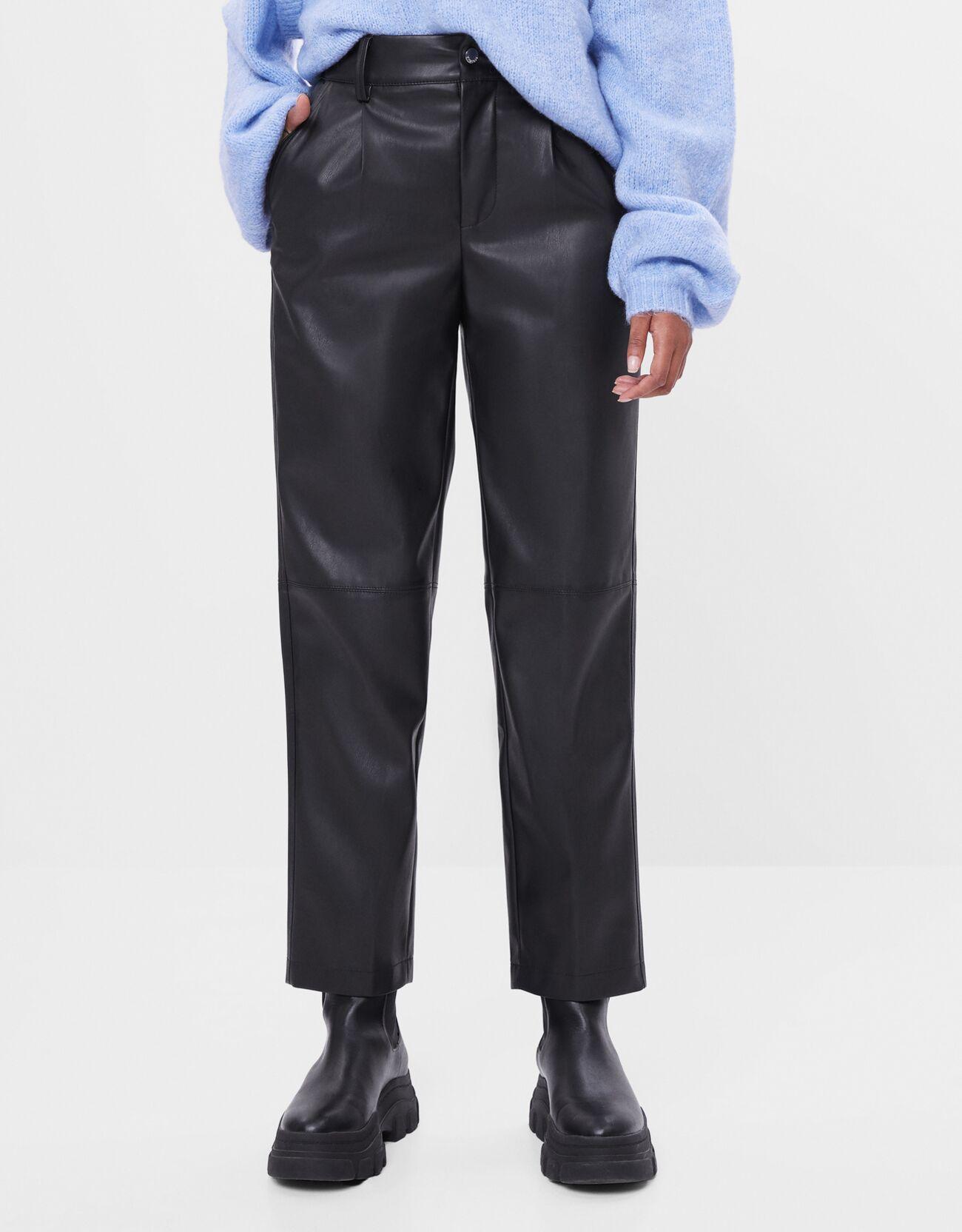 Pantalón recto de piel sintética