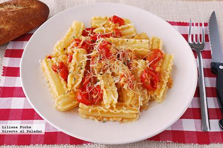 Capricci con tomates cherry y queso San Simón, receta fácil de pasta
