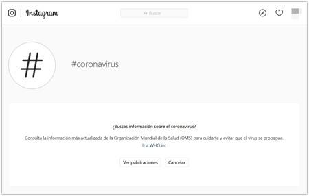 Instagram Aviso Coronavirus
