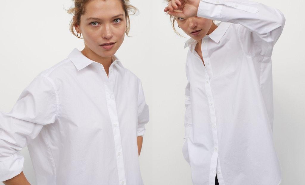 Camisa de corte recto en tejido vaporoso de algodón. Modelo con cuello clásico, botones delante, hombros ligeramente caídos y mangas largas con puños sencillos.