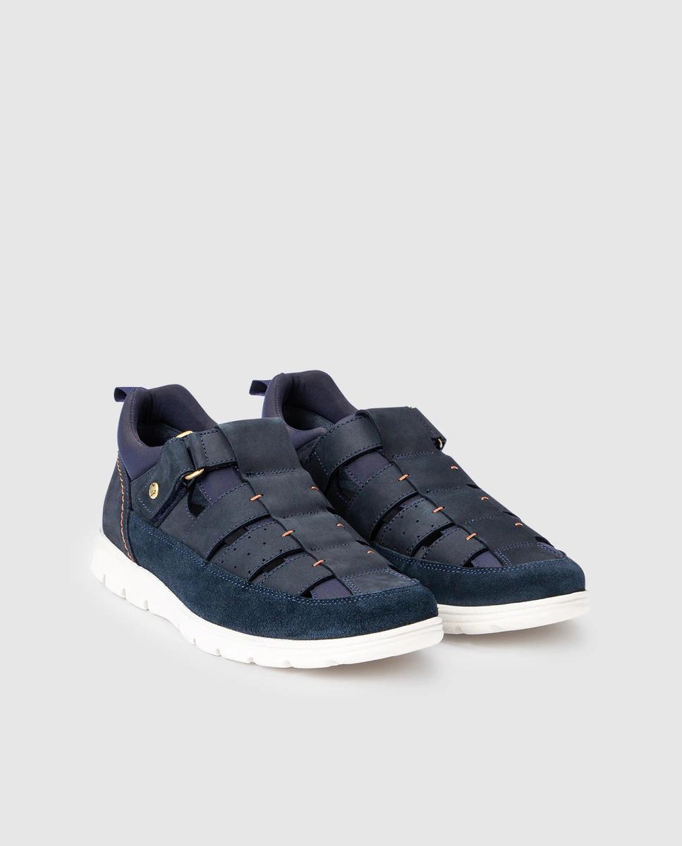 Zapatillas de hombre Panama Jack en nobuck azul marino con cierre adherente