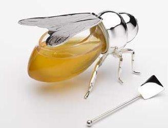 Abeja plateada para guardar la miel