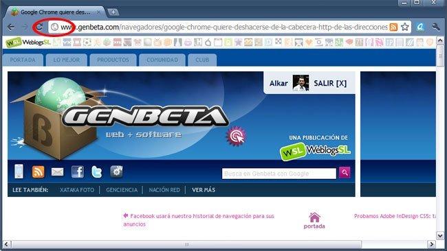 Google Chrome 6 beta oculta el http