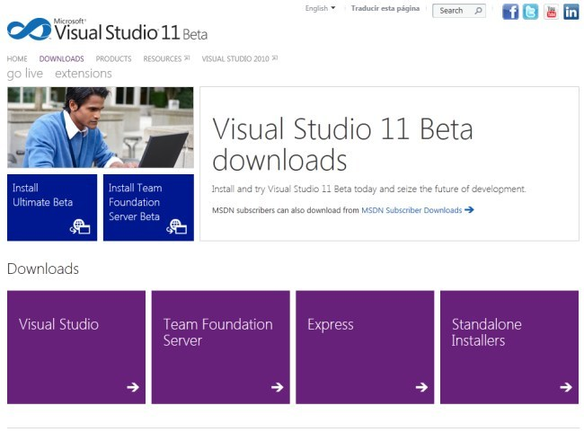 Página de descarga del Visual Studio 11 beta