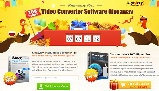 Thanksgiving Gift 20k Free Copies Of Macx Video Converter Pro Giveaway