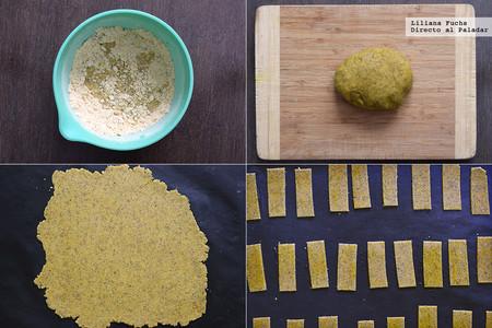 Crackers crujientes de garbanzo y zaatar. Receta sin gluten vegana para el aperitivo. Pasos