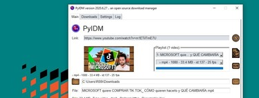 PyIDM, un gestor de descargas open source que nos facilita la tarea de bajarnos playlists de vídeo