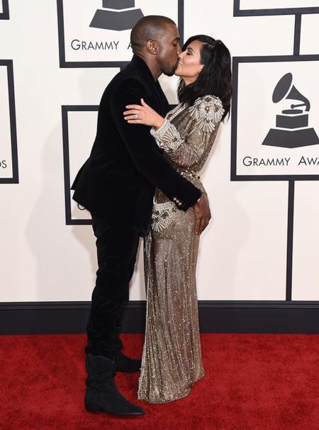 Parejas Grammy 2015 Kim Kardashian y Kanye West