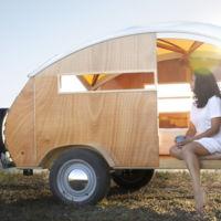 Caravana de madera, moderna, retro, 'cuqui' y cara